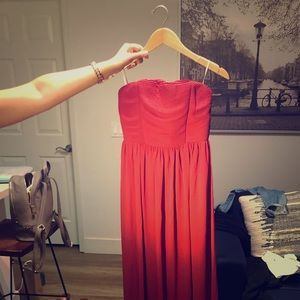 Long, red wedding guest formal maxi dress.